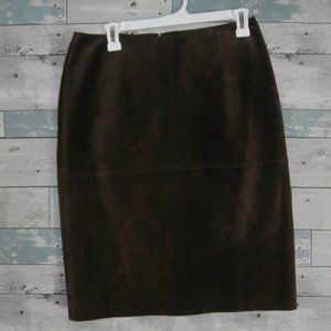 Newport News Brown Suede Leather Pencil Skirt B11